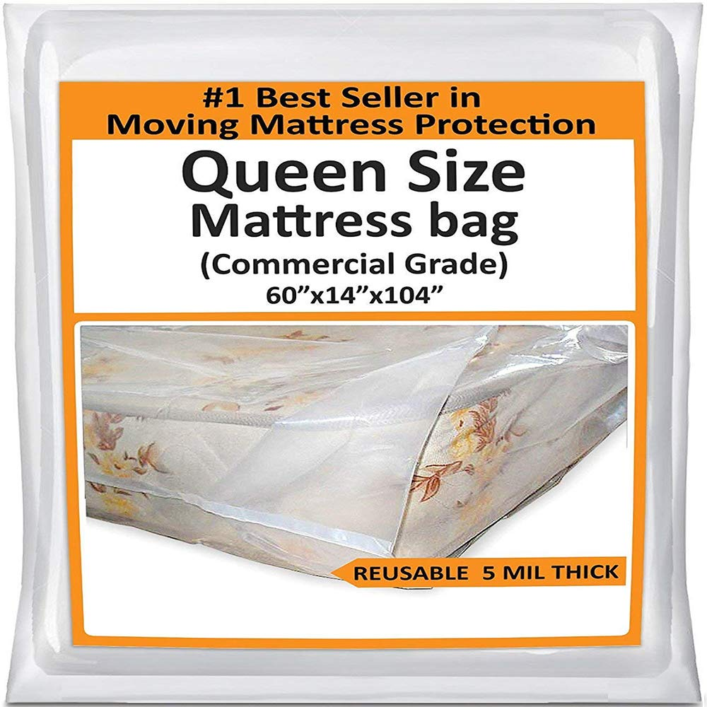Mattress Bags for Moving Queen -Mattress Storage Bag - 5 Mil Heavy-Duty - Thick Plastic Bed Mattress Cover Protector for Moving Queen