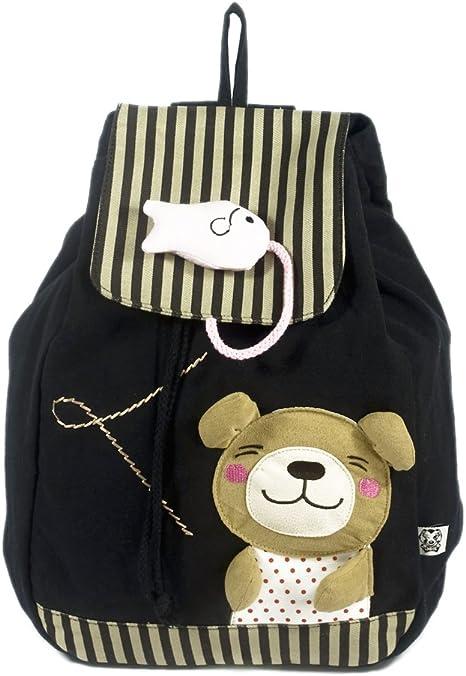 oso y pescado]Mochila de arte para la escuela 100% tela de algodón ...