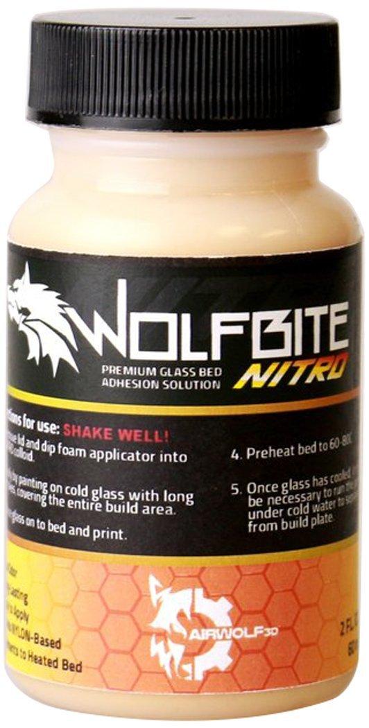 Airwolf 3D A23300 Wolfbite Nitro Heatbed Adhesion Solution For Nylon-2oz/60Ml Orange