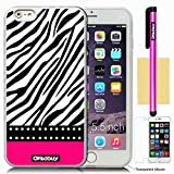 OkSoBuy® Apple iPhone 6 Plus (5.5 Inch) Case Background Pattern Soft Silicone Impact Case for Apple Iphone 6 plus (5.5 inch) (Transparent rose red Zebra)