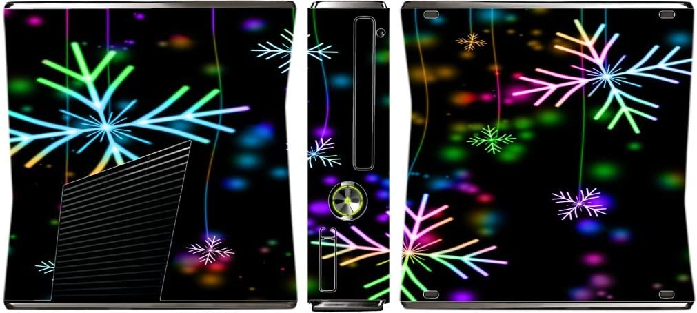 Neon Snowflakes Snowflake Xbox 360 Slim (2010) Vinyl Decal Sticker Skin by Moonlight Printing