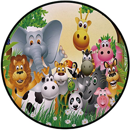 - Printing Round Rug,Kids Decor,Cute Animals in Jungle Elephant Giraffe Panda Bear Pig Lion Hippo Rhino Cartoon Mat Non-Slip Soft Entrance Mat Door Floor Rug Area Rug For Chair Living Room,Multicolor