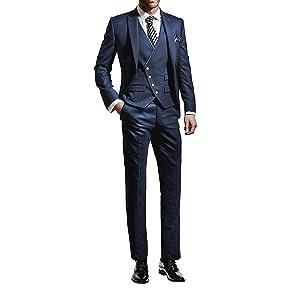 (エブレドレス)everydress 2020 メンズスーツ 一つボタン スリム スーツ 3ピース 紳士服 結婚式 通勤 スーツ メンズ メンズ礼服 スーツ メンズ 夏 (M, ネイビー)