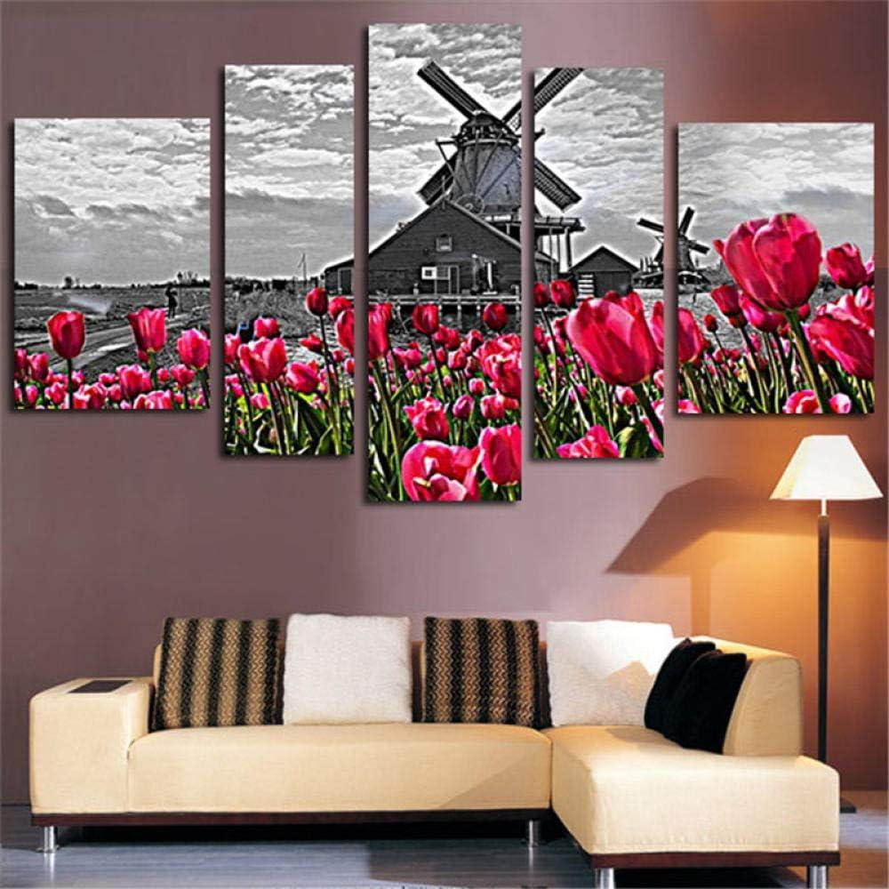 Molino de viento holandés paisaje de tulipanes lienzo moderno pintura 5 murales flores de tulipán Cuadros Decoracion sala de estar cuadros decoracion