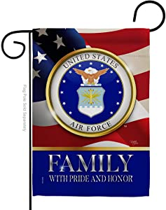 Breeze Decor US Air Force Family Honor Garden Flag Armed Forces USAF United State American Military Veteran Retire Official Small Decorative Gift Yard House Banner Double-Sided Made in USA 13 X 18.5