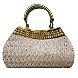 Partywear Designer Evening Embroidered Clutch Purse Fancy Bridal Wedding Clutch Handbag Purse For Women Girls Stylish Branded With Handle Sequined Beaded Thread Work By Krushh ON SALE!!!! (Beige)