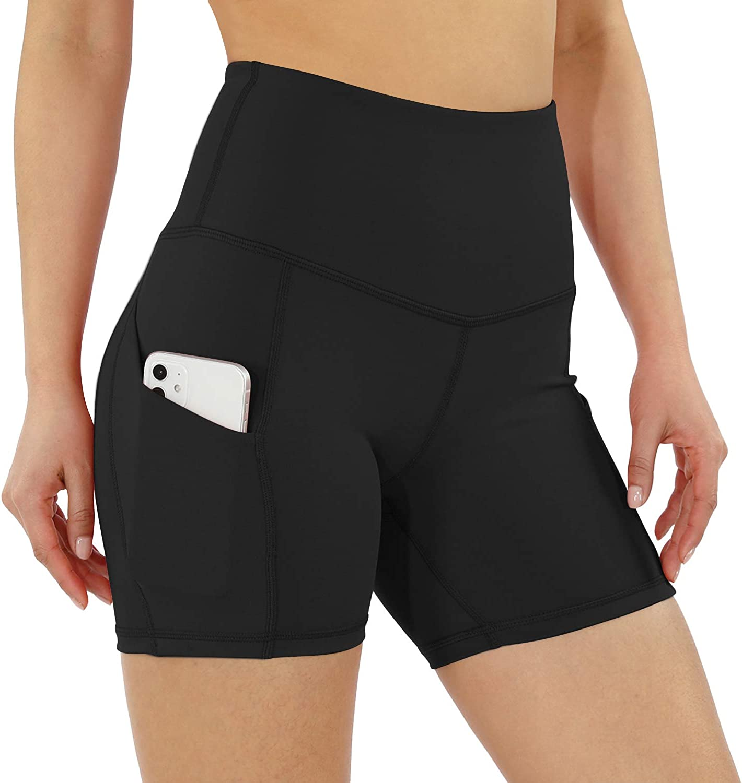 Women Stretch High Waist Yoga Shorts Gym Cycling Biker Pants Sports With Pocket
