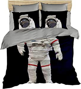 DecoMood Astronaut Bedding, Space and Astronaut Themed Quilt/Duvet Cover Set, Full/Queen Size, Boys Kids Bed Set (3)