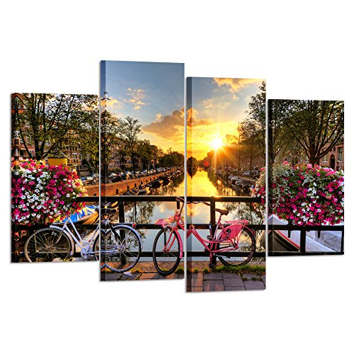 Kreative Arts - 4 Pieces Canvas Prints Sunrise Over an Amsterdam River with Spring Flowers Along City Photo Printing on Canvas Wall Art Landscape Pictures for Kitchen Walls Decor L47xH32inch]()