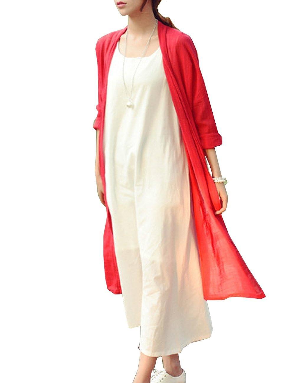 YinMei-women Niaona Womens Summer Petite Linen Collarless Comfort Lightweight No Buttons Long Cardigan