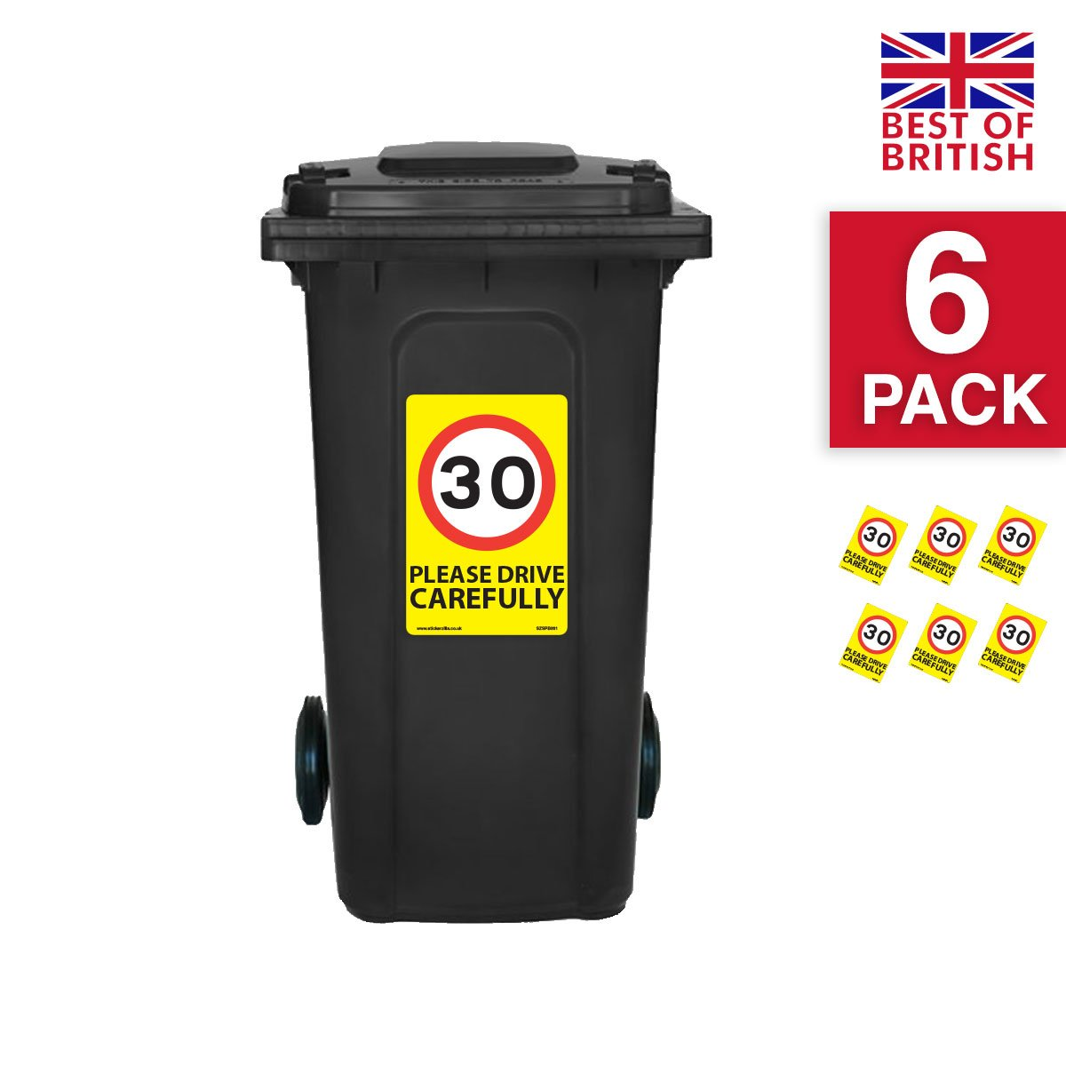 30 Mph Speed Signs [6 X Pack] - A4 Vinyl Stickers, Yellow Background Ideal For Wheelie Bins Stickerzilla