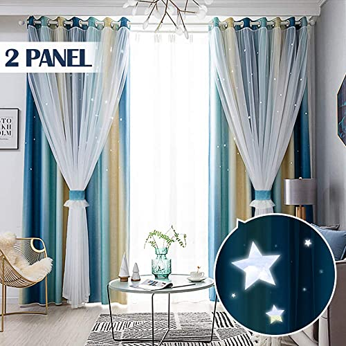 TINYSUN Color Candy Stripe Star Cut-Out Romantic Curtains for Bedroom 2 Panels,2-Layers Mix Design of Fabric Tulle,Pretty Window Curtain for Kids Room W52 x L96,Total is 104-Inch Wide,Blue Beige