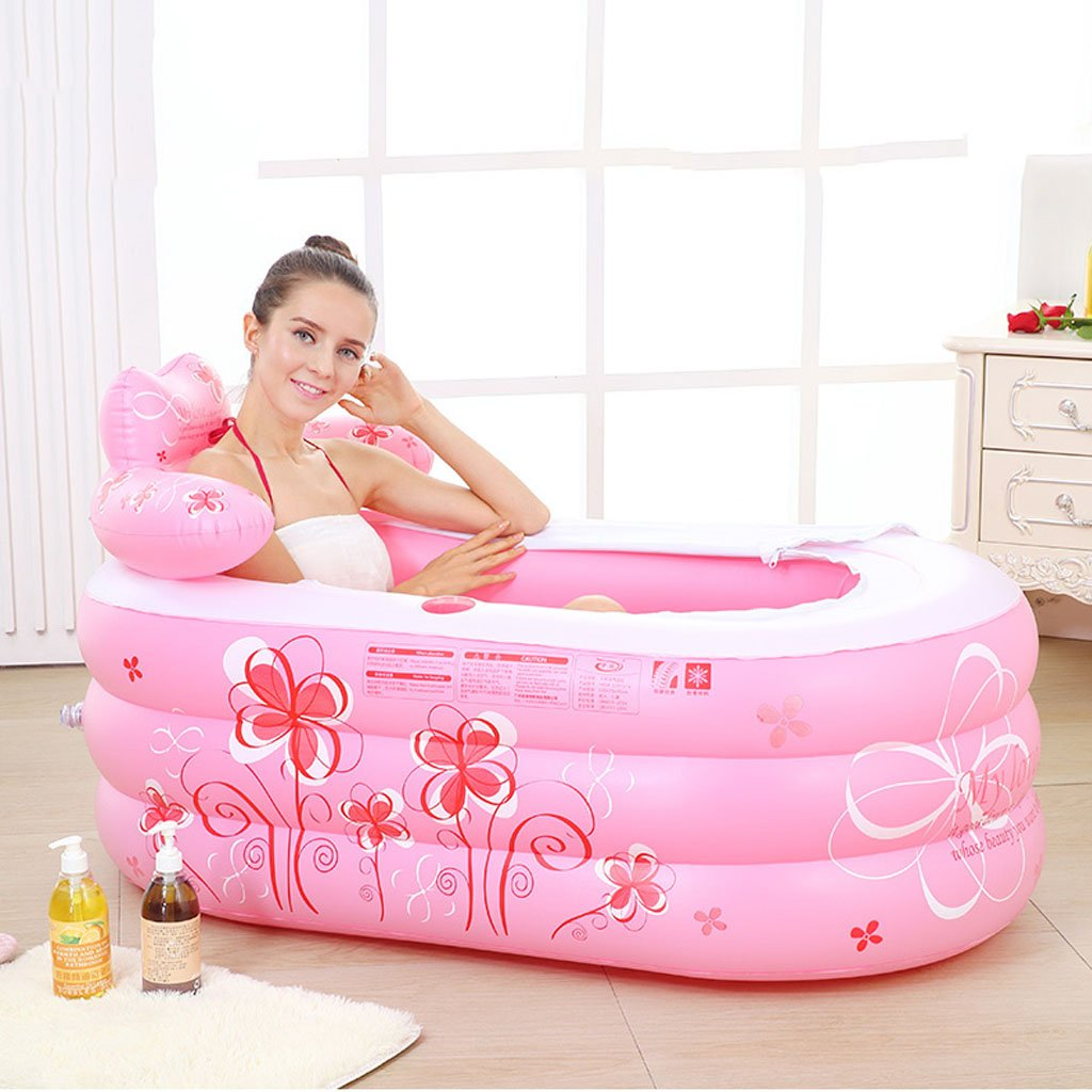 Bathtubs Freestanding Folding Children's Bath tub Adult Inflatable tub with Back Bath Thick Plastic Bath tub with air Pump (Color : Pink, Size : 1307570cm)