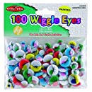 Charles Leonard Wiggle Eyes - Painted - Assorted Sizes/Colors - 100/Bag, 64520