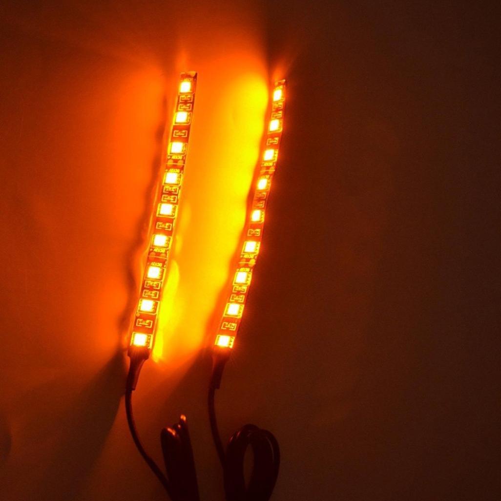 Glumes Universal 2pc 9LED 5050 Motorcycle Bike LED Mini Strip Black Turn Signal Indicator Blinker (Amber)