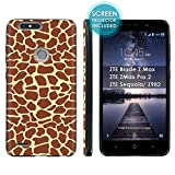 "[Mobiflare] TPU Phone Cover for ZTE Blade Zmax Pro 2/ZTE Sequoia [Black] Ultraflex Gel Phone Case Screen Protector Included - [Giraffe Print] for ZTE Blade Z Max Z982 [6"" Screen]"