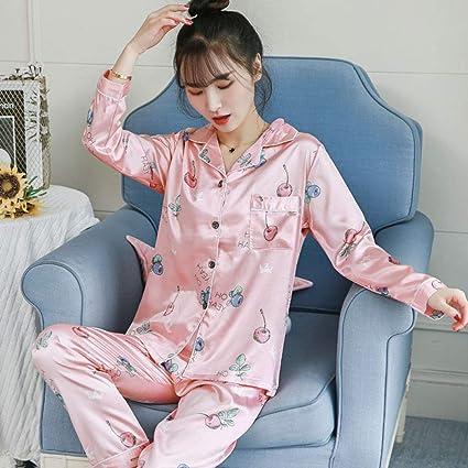 Pijama de Mujer Pijama de Primavera Estampado de Seda para ...