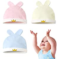 3 Packs Baby Beanie Soft Knotted Caps Newborn Baby Hats Knot Unisex 100% Cotton Cute Lovely Infant Caps