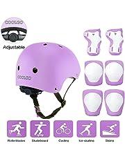 Skateboard Helm Kinder, COOLGOEU 7 in 1 Protektorenset Kinder mit Knieschoner, Ellenbogenschoner und Handgelenkschoner für Inlineskates, Skateboard, Hoverboard, Fahrrad, BMX-Fahrrad