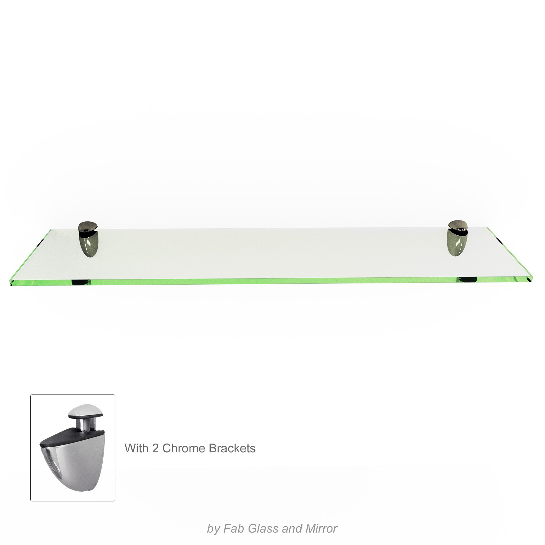 Fab Glass and Mirror Rectangle Floating Glass Shelf Kit, 8'' L x 18'' W, Clear
