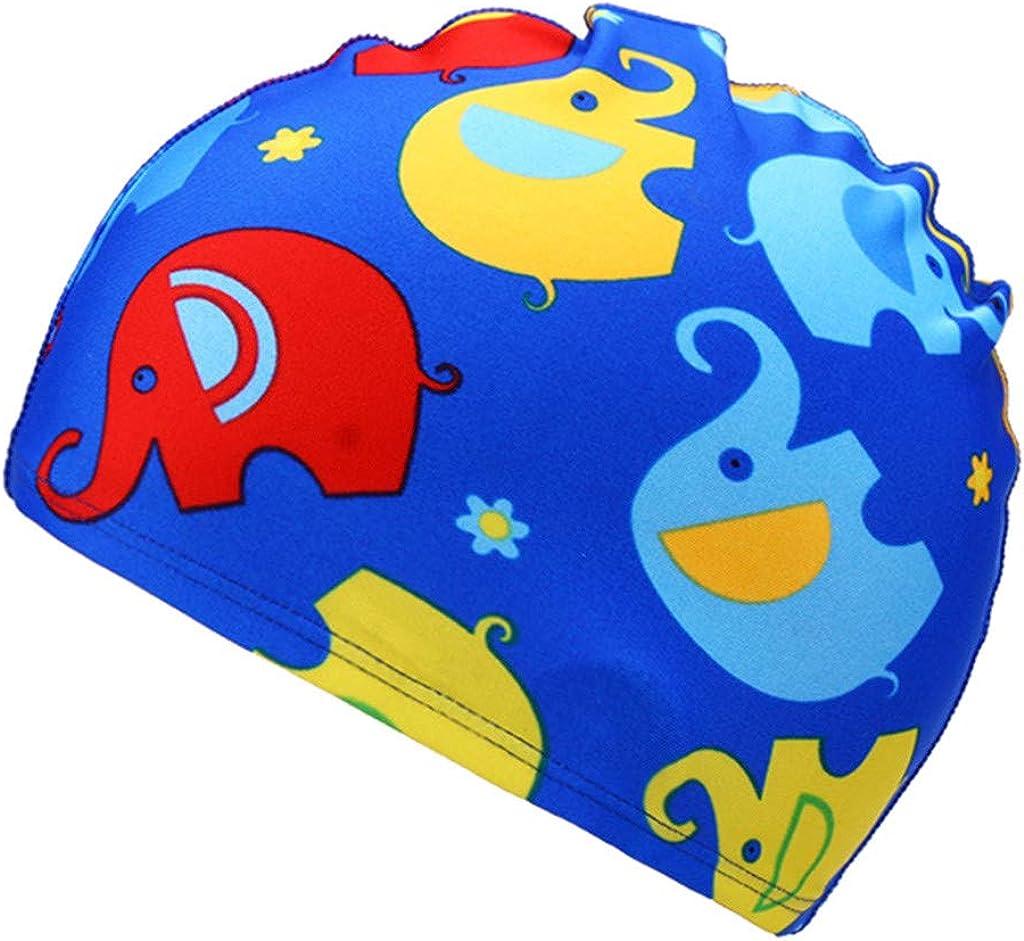 Swimming Cap for Kids Zerototens High Elastic Waterproof Swim Cap for Children Cartoon Print Swim Waterproof Swimming Cap Sports Hat 2-6 Years Old