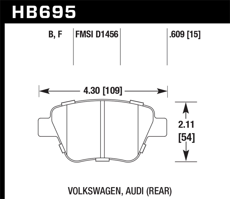 HB695B.609 Hawk Performance High Performance Street 5.0 Brake Pad