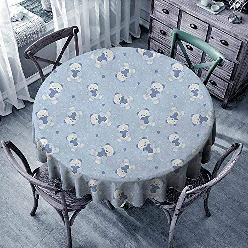 ScottDecor Print Round Tablecloth Picnic Cloth Boys,Teddy Bears on Blue Backdrop Holding Hearts Baby Shower Theme Toddler, Baby Blue Cadet Blue White Diameter 60