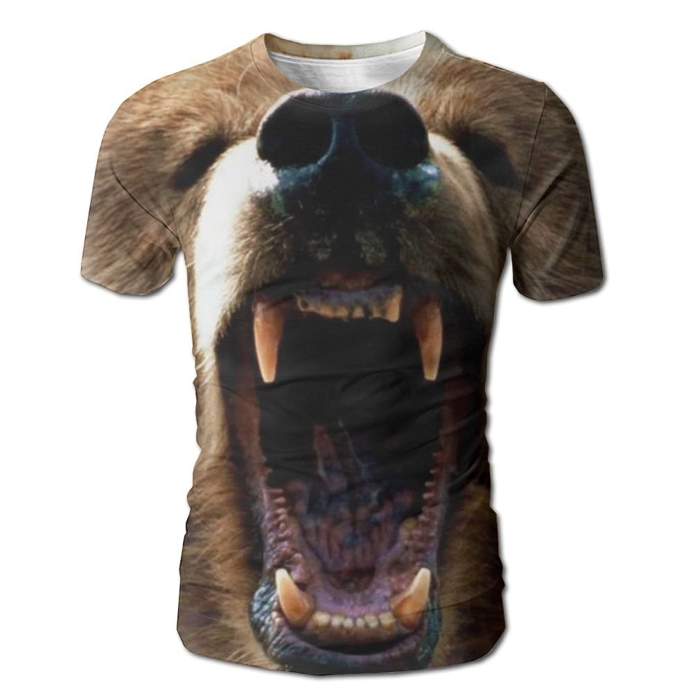 XIA WUEY Grizzly Bear AdultFunny Baseball Tshirt Graphic Tees Tops For Running