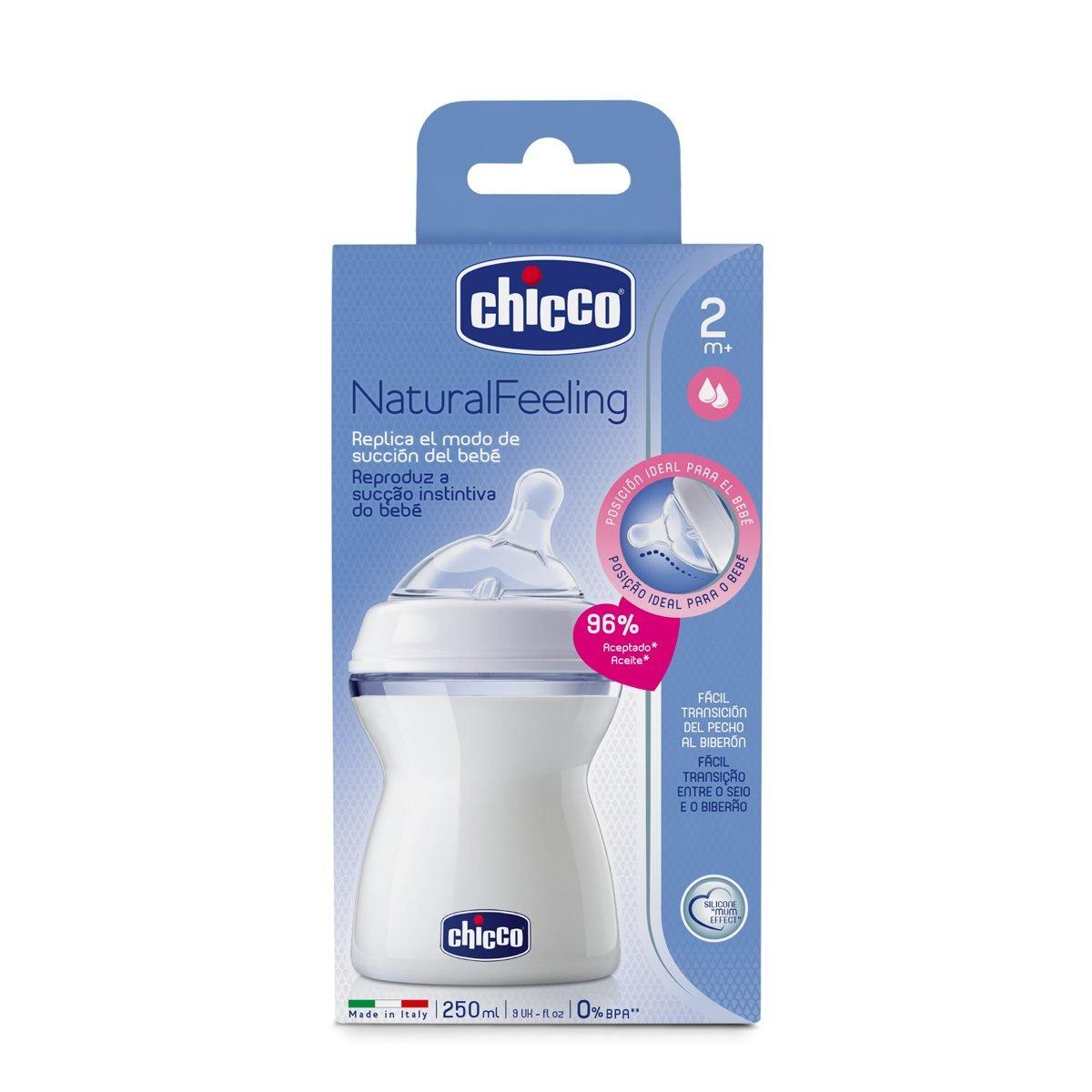 Chicco NaturalFeeling - Biberón con tetina inclinada anticólicos y flujo medio para bebé de 2m+, 250 ml
