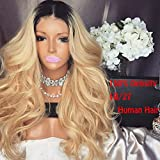 Full Lace Wigs Blonde Ombre Human Hair Glueless Lace Front Wig for Black Women 150% Density 1B/27 2 Tone Baby Hair Around (18 Inch, 150% Lace Front Wigs)