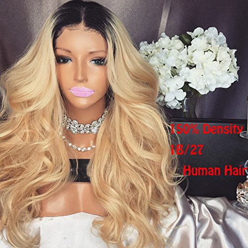 Full Lace Wigs Blonde Ombre Human Hair Glueless Lace Front Wig for Black Women 150% Density 1B/27 2 Tone Baby Hair Around (18 Inch, 150% Lace Front Wigs) by Funtress