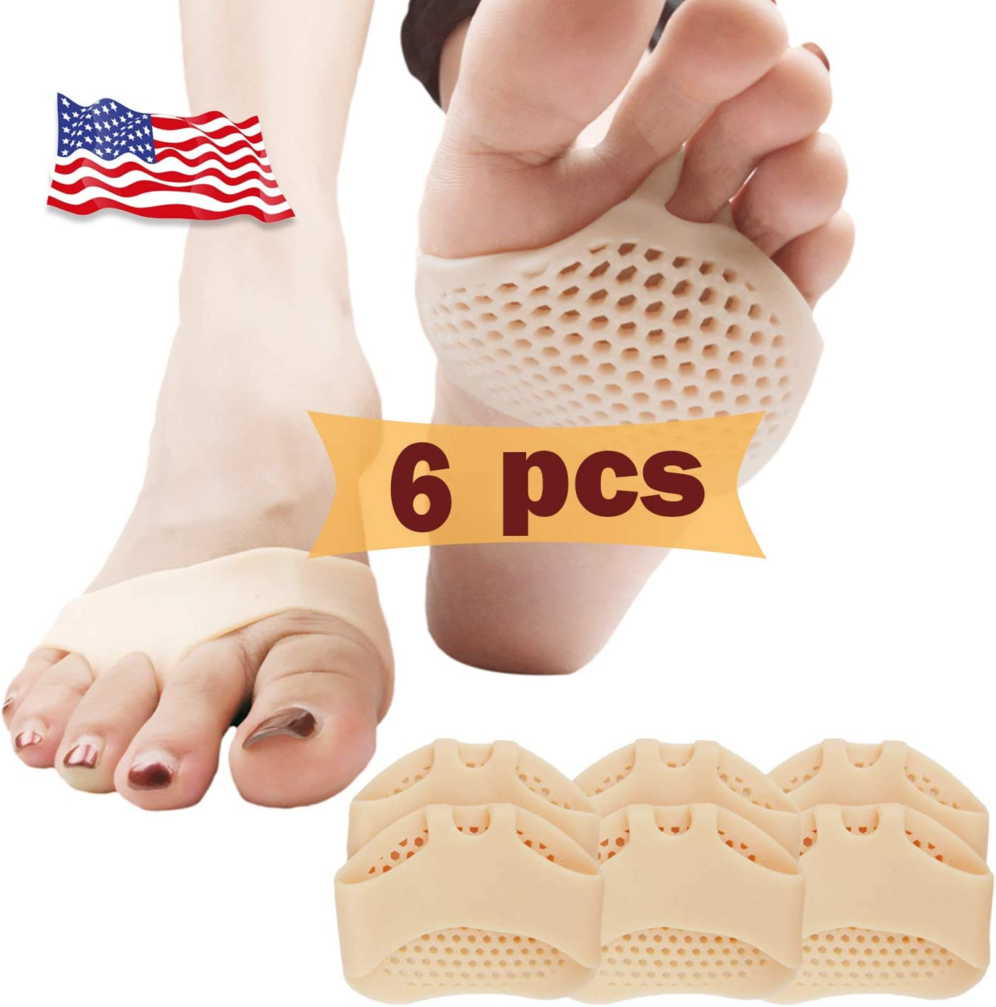 Almohadillas metatarsales, cojín de la bola del pie (6 piezas), NUEVO MATERIAL, Almohadillas para el antepié, gel transpirable y suave, mejor para pies diabéticos, callo.(Piel)