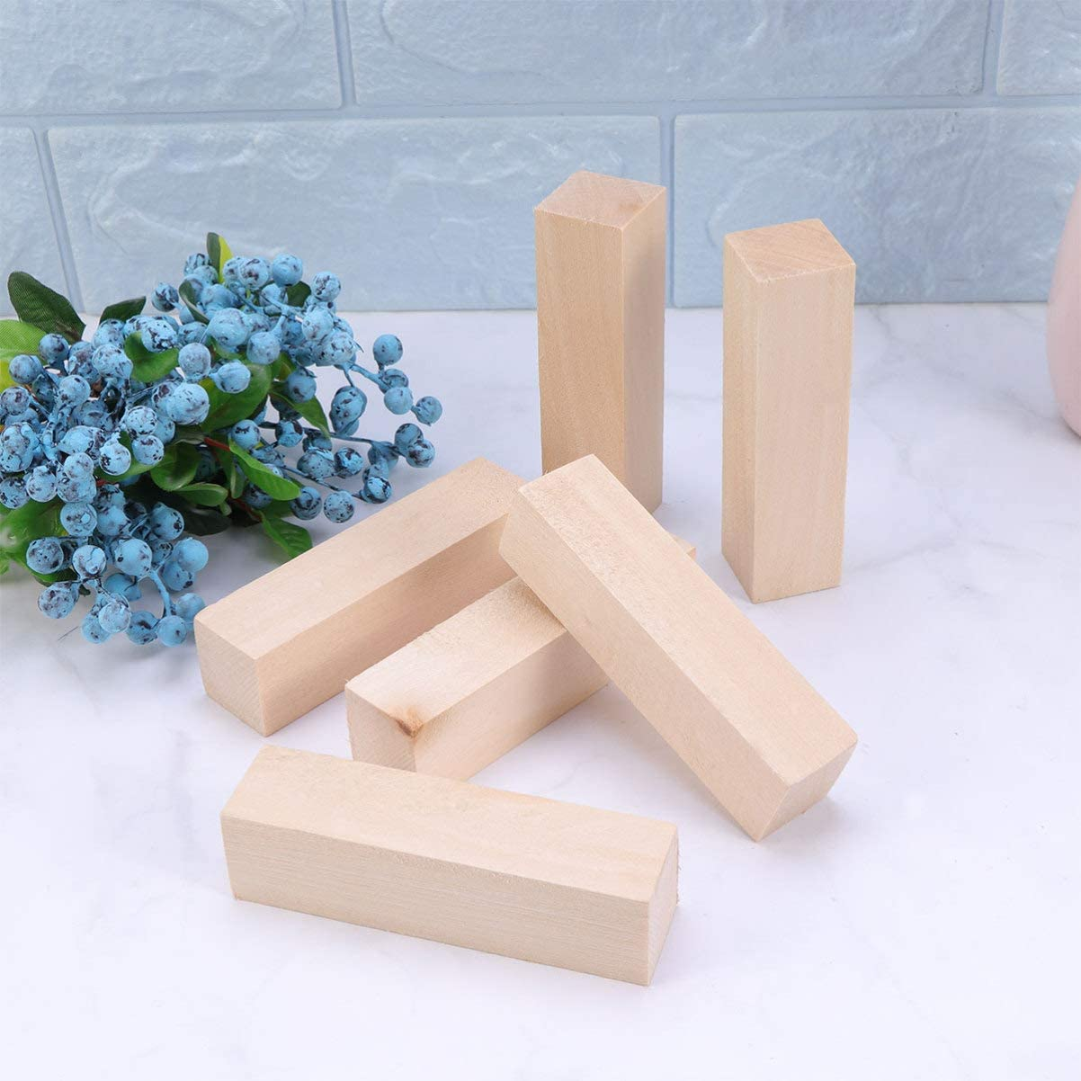 Exceart 10pcs Wood Block Blank Square Natural Wood Blocks Carving Wood Craft Wood for Art Design Craft Making