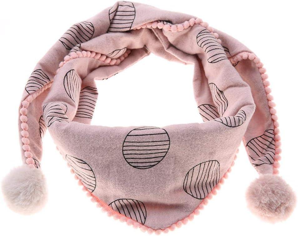 2# Bufanda de algod/ón para ni/ños c/ómoda bufanda de cuello de tri/ángulo para ni/ños c/ómoda a prueba de viento transpirable con bola de pelo para ni/ños ni/ñas