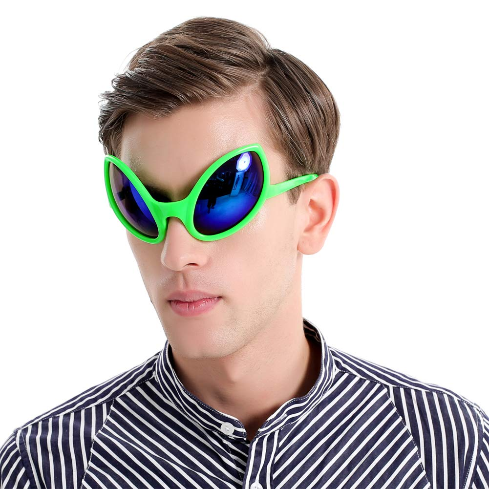 e3acc9ded858 Amazon.com  Funny Alien Costume Mask Novelty Glasses Halloween Party  Photobooth Props Favors Accessories Party Supplies Decoration Gift (Green)   Toys   ...