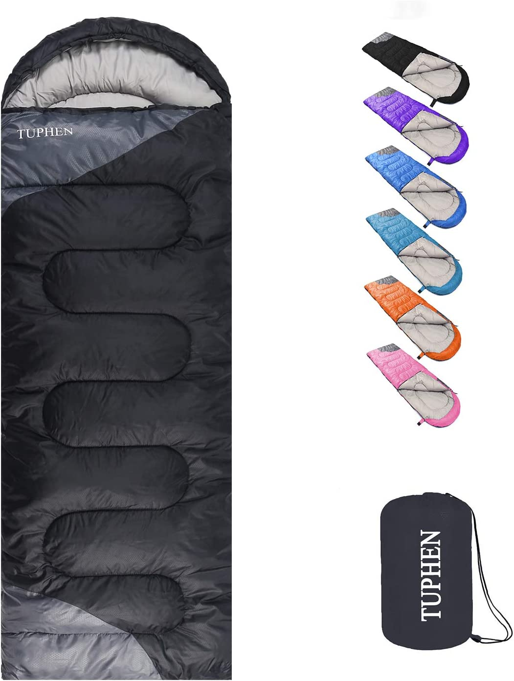 Black and dark gray Tuphen sleeping bag unpacked and packed away