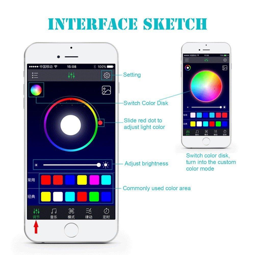 SJPLIght Car LED Strip Lights, 4 Pcs 48 LEDs Car Interior RGB Music Atmosphere Floor Underdash Lights, APP Control Bluetooth Light Kit for Iphone/Android/Google Phones by SJPLIght (Image #2)