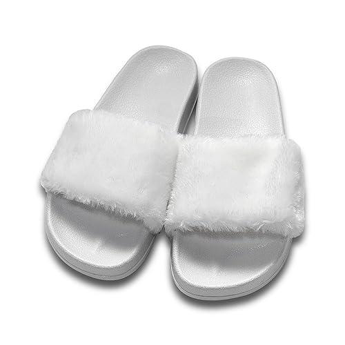 ONCAI Di Finto Pelo Sandalo Pantofole Da Donna (39.5, Bianco)