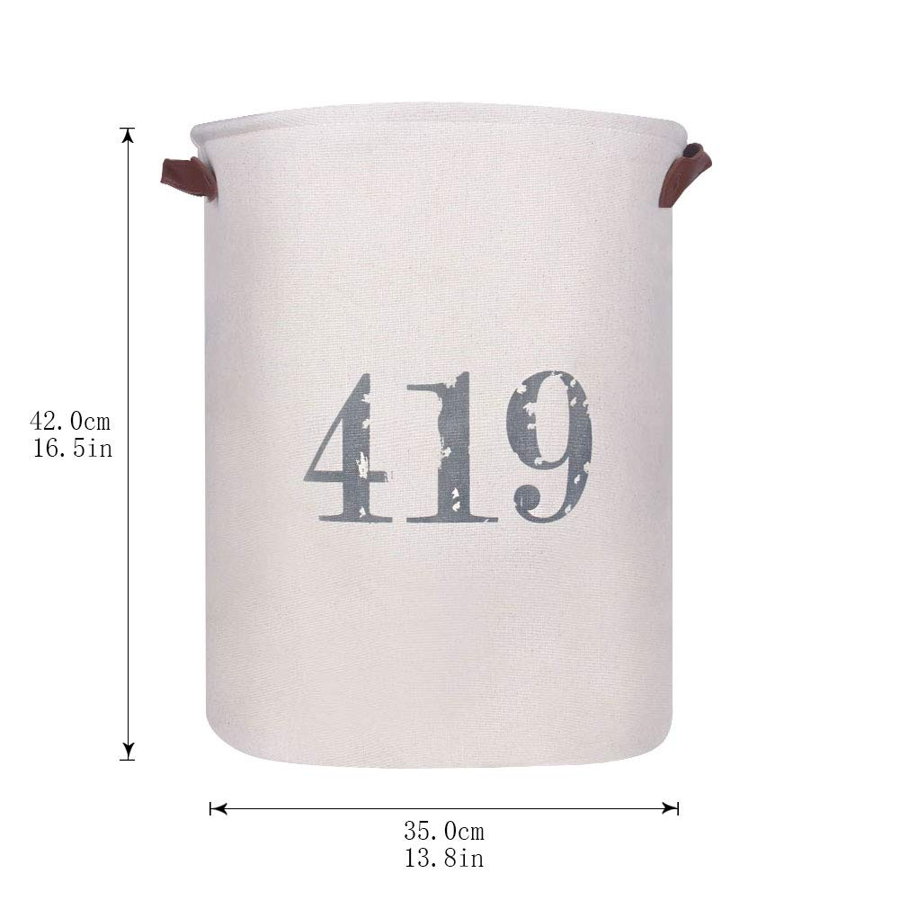 Khaki,L Zeroomade 13.8 X 17.7 Waterproof Laundry Baskets Foldable English Letters Round Cotton Linen Fabric Collapsible Storage Basket Household Organizer Basket Clothes Hamper