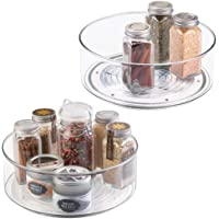 "mDesign Plastic Lazy Susan Spinning Food Storage Turntable for Cabinet, Pantry, Refrigerator, Countertop - Spinning Organizer for Spices, Condiments, Baking Supplies - 9"" Round, 2 Pack - Clear"