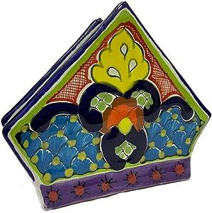 Mexican Colorful Talavera Napkin Holder - Authentic Hand Painted Mexican Pottery - Mexican Talavera Servilletero Mexicano (Multicolor)