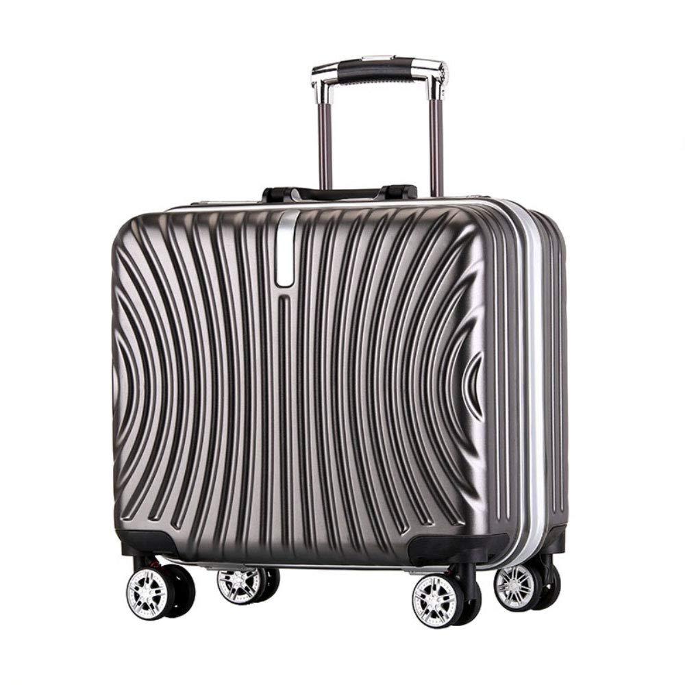 トロリーボックスユニバーサルホイールアルミフレーム旅行荷物18インチビジネス搭乗パスワードスーツケース (Color : グレイ ぐれい, Size : 18 inch)   B07R6PKNF1