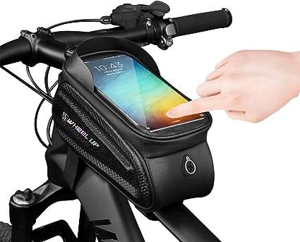 Belita Amy Bike Handlebar Bags Waterproof Bicycle Phone Front Frame Bag Cycling Top Tube Pannier Bag with Touch Screen Sun Visor Large Capacity for Smartphone Below 7 Inch