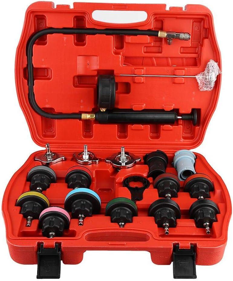 Probador de fugas de tanque de agua de coche Universal de 18 piezas, Kit de herramientas de detector de sistema de refrigeración, probador de presión de radiador de sistema de refrigeración