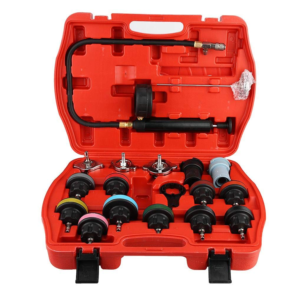 Aramox Cooling System Tester, 18pcs Universal Car Water Tank Leak Tester Cooling System Detector Tool Kit by Aramox (Image #1)