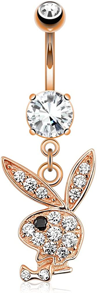 Multi Paved Gems On Playboy Bunny Dangle Rose Gold Navel Ring
