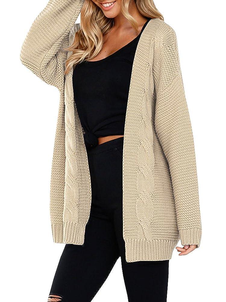 Khaki JOYCHEER Womens Sweaters Oversized Open Front Boyfriend Cable Knit Chunky Cardigans Coat