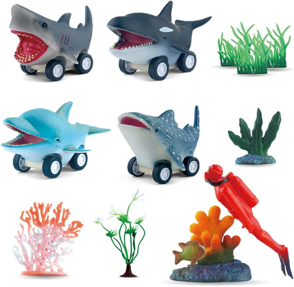 DINOBROS Sea Animal Pull Back Toy Cars Playset Ocean Game Set of 12Pcs Great White Shark Dolphin Killer Whale Toys for Boys and Toddlers 3 Year Olds and Up