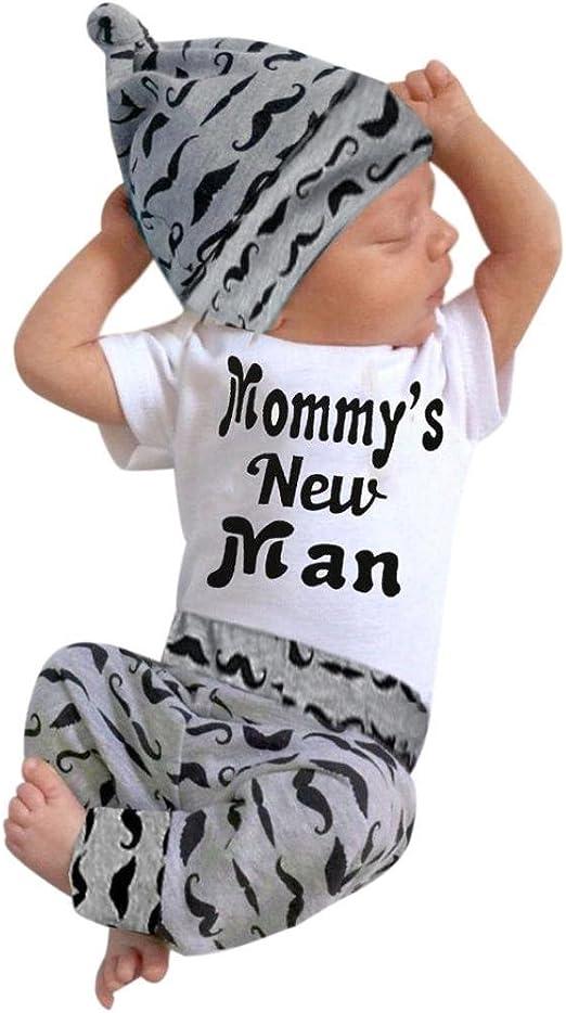 Long Pants Hat Outfits Clothes 0-18M Cute 3PCS Set Newborn Baby Boy Romper Tops