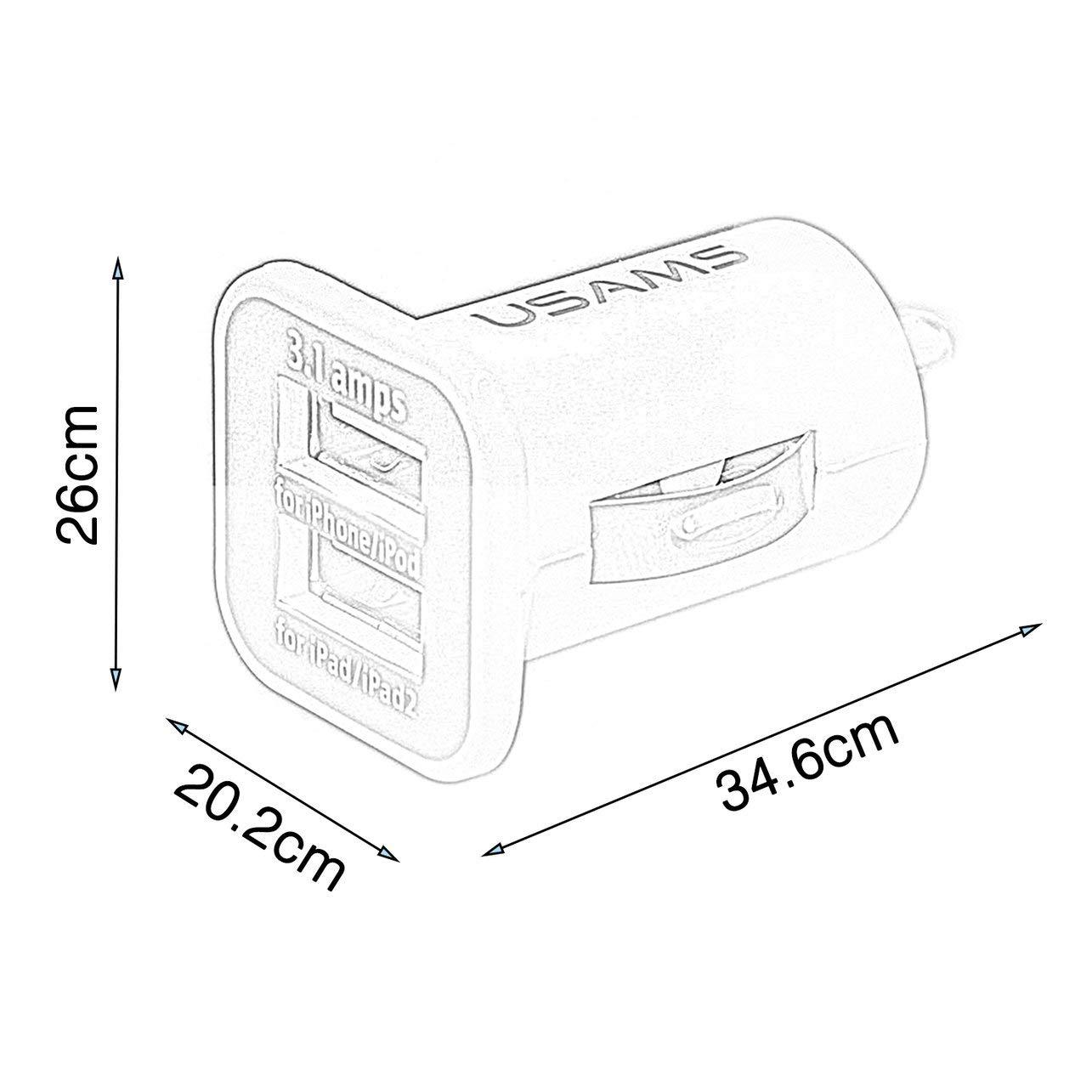 WOSOSYEYO USAMS Universal 12V 3.1A Mini port/átil Dual Puertos USB veh/ículos de Alquiler de Cargador para el tel/éfono m/óvil Tablet PC Dispositivos